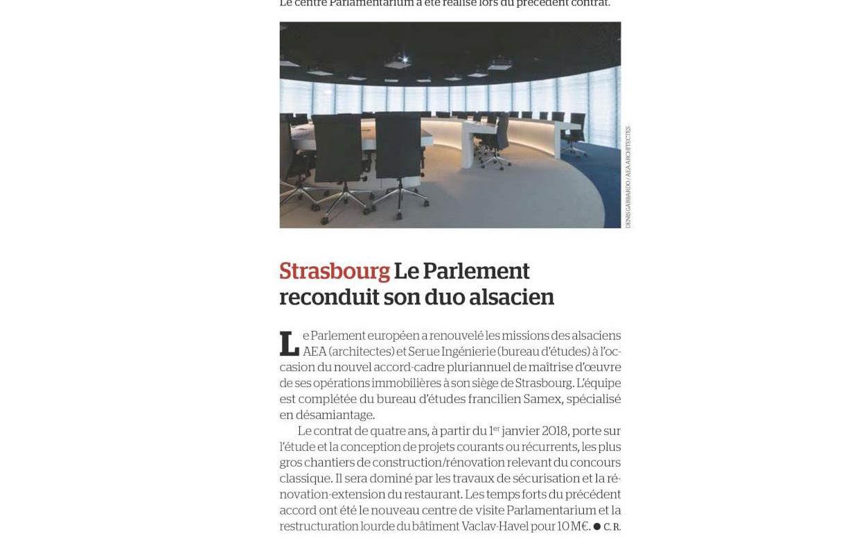 Publication dans «Le Moniteur»: renouvèlement du contrat avec le Parlement européen