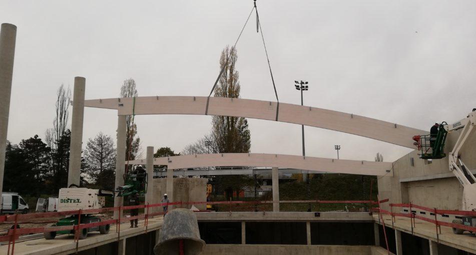 Centre Nautique de Cernay (68): Pose de la charpente