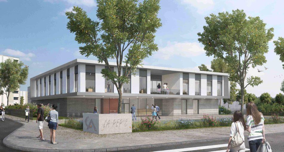 Pépinière d'entreprises à Colmar (68): pose de la 1ère pierre
